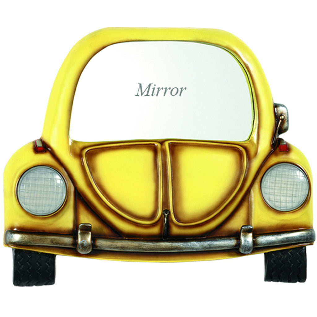 PUB SIGN-YELLOW CAR WITH MIRROR