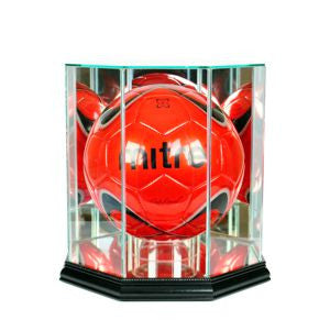 Octagon Soccer Ball Display Case with Black Moulding