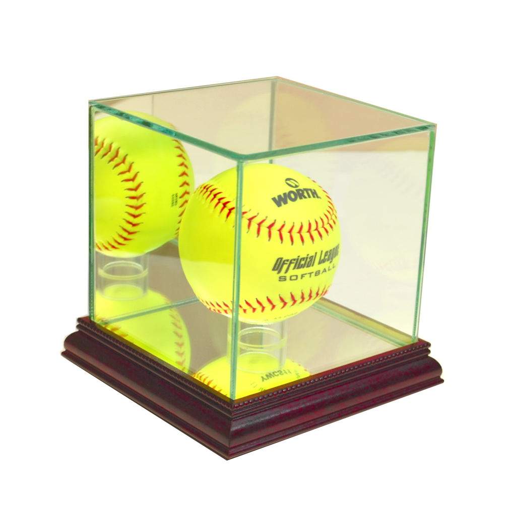 Softball Display Case with Cherry Moulding