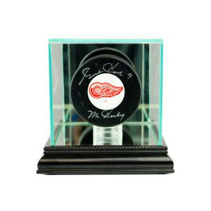 Single Hockey Puck Display Case with Black Moulding
