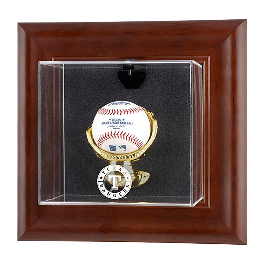 Texas Rangers Brown Framed Wall-Mounted Logo Baseball Display Case