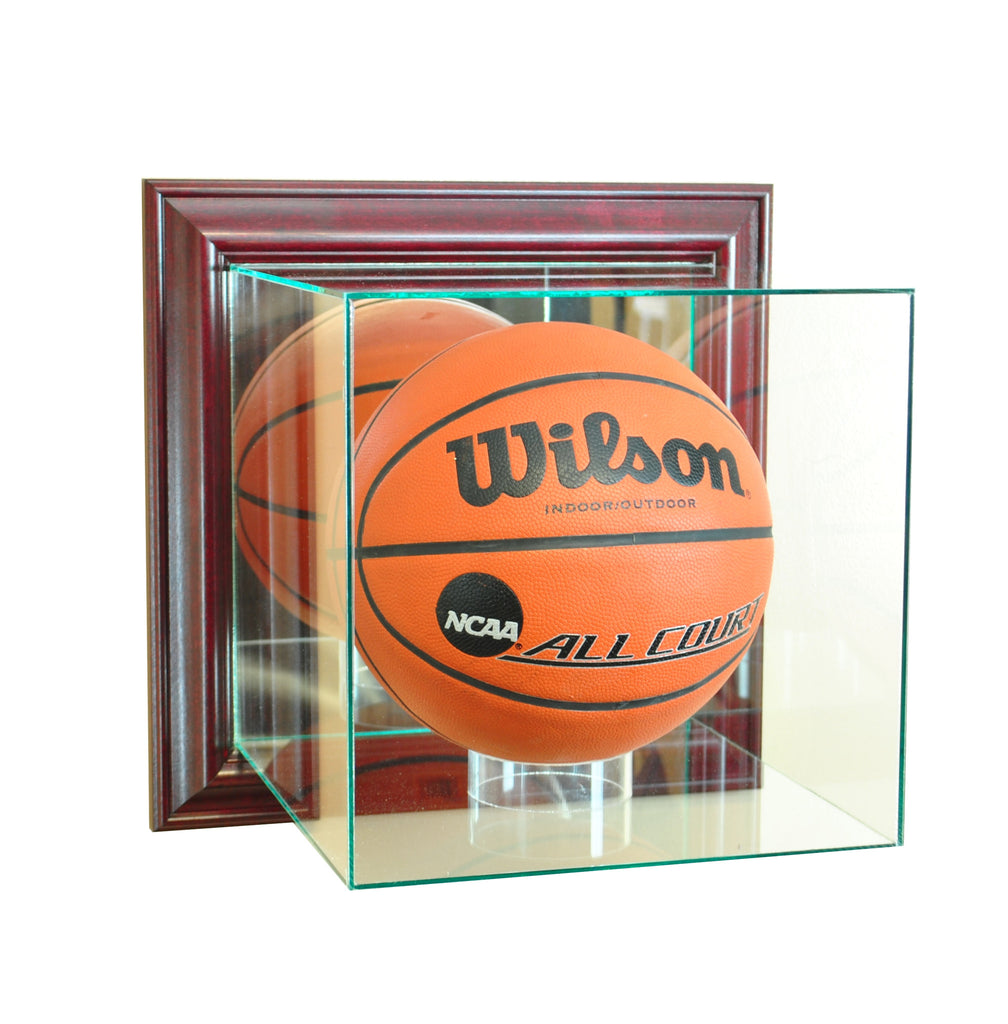 Wall Mounted Basketball Display Case with Cherry Moulding