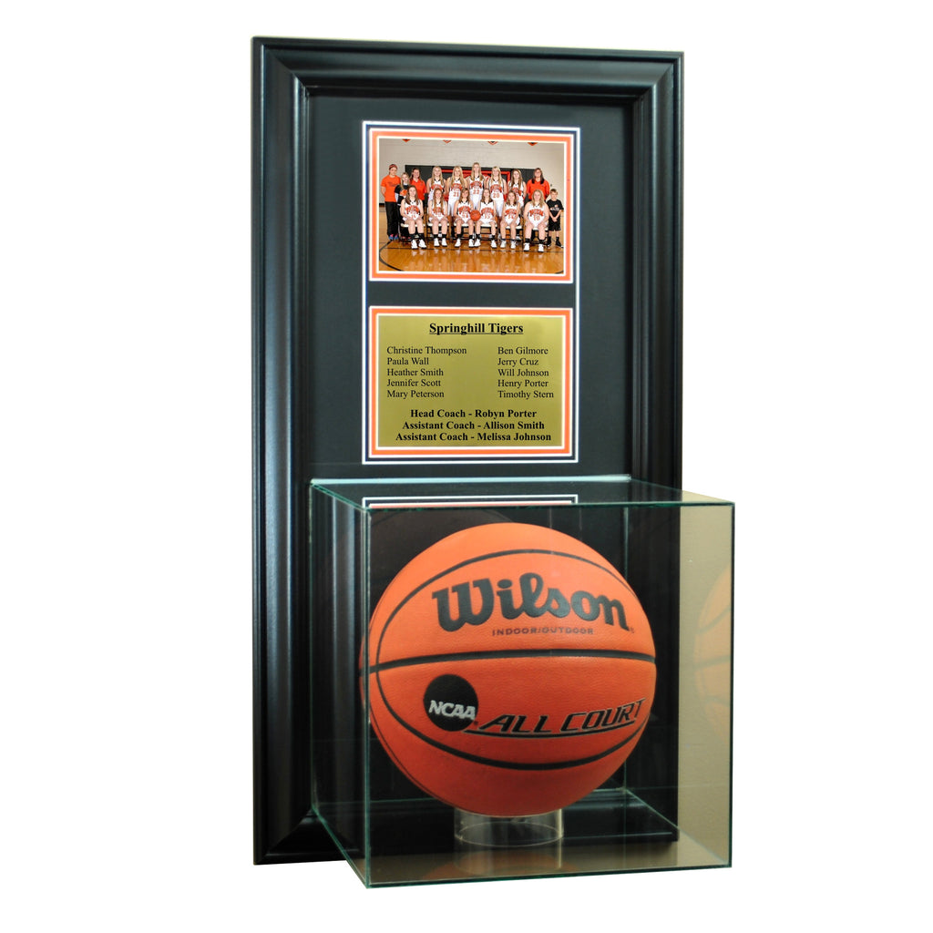 Wall Mounted Basketball Case with 5x7 and Engraving Plate for Team Award