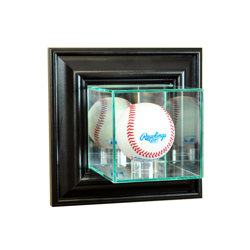 Wall Mounted Baseball Display Case with Black Moulding