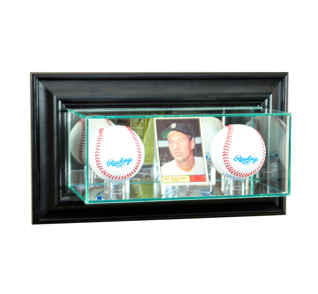 Wall Mounted Card and Double Baseball Display Case with Black Moulding