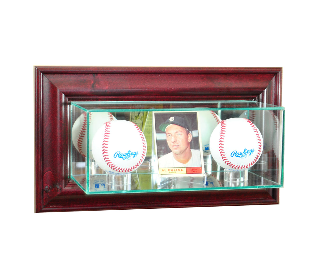 Wall Mounted Card and Double Baseball Display Case with Cherry Moulding