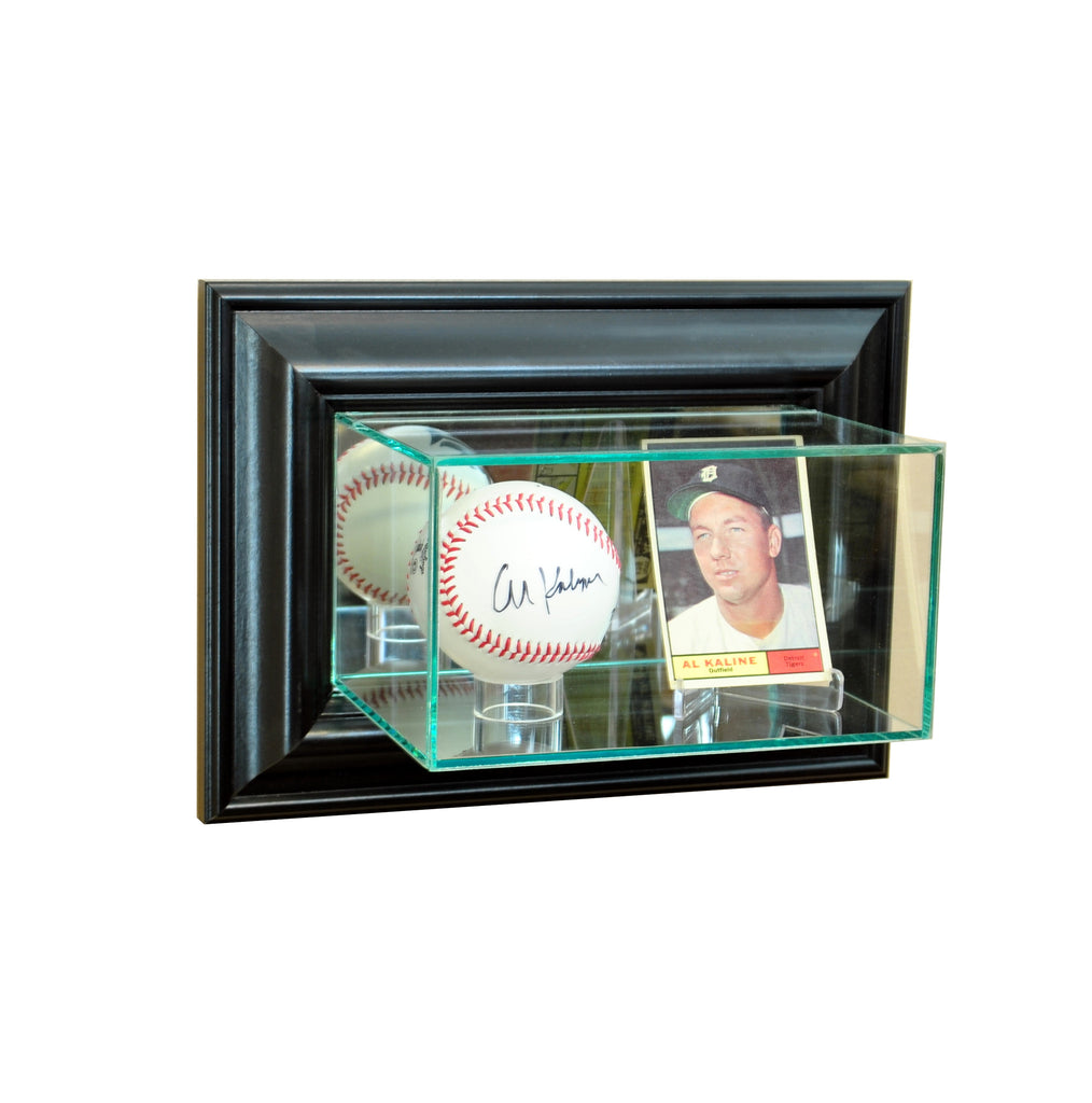 Wall Mounted Card and Baseball Display Case with Black Moulding