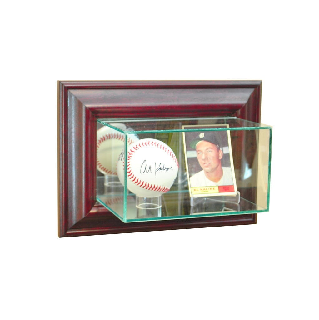 Wall Mounted Card and Baseball Display Case with Cherry Moulding
