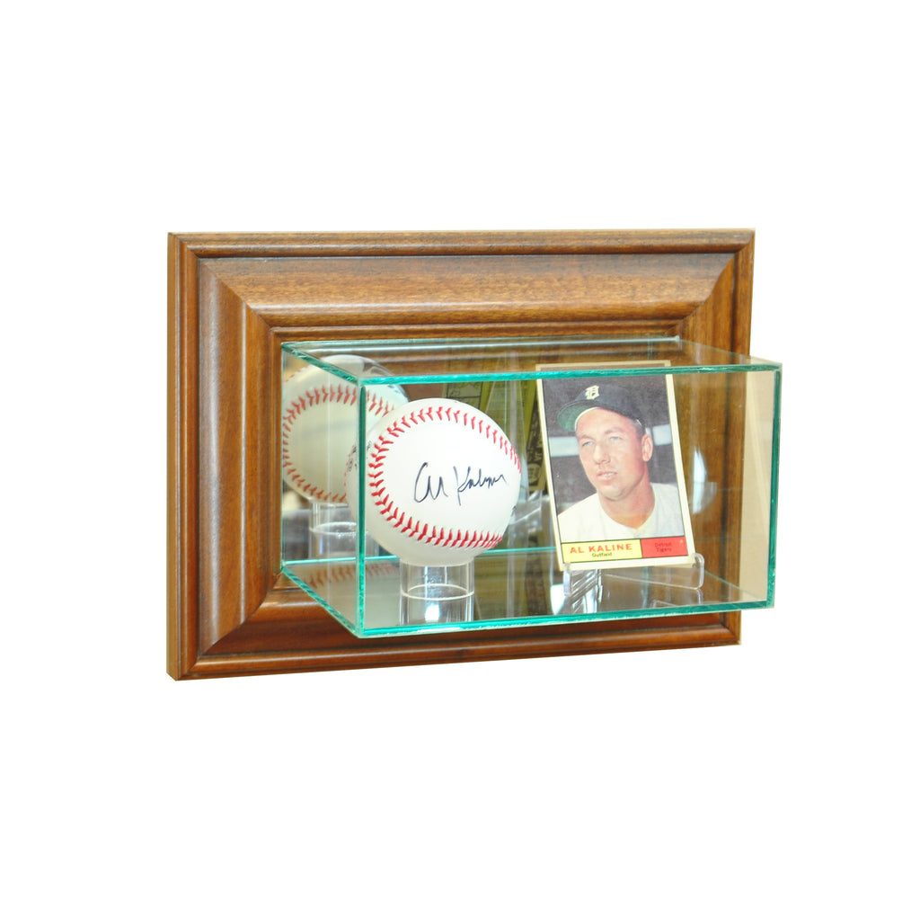 Wall Mounted Card and Baseball Display Case with Walnut Moulding