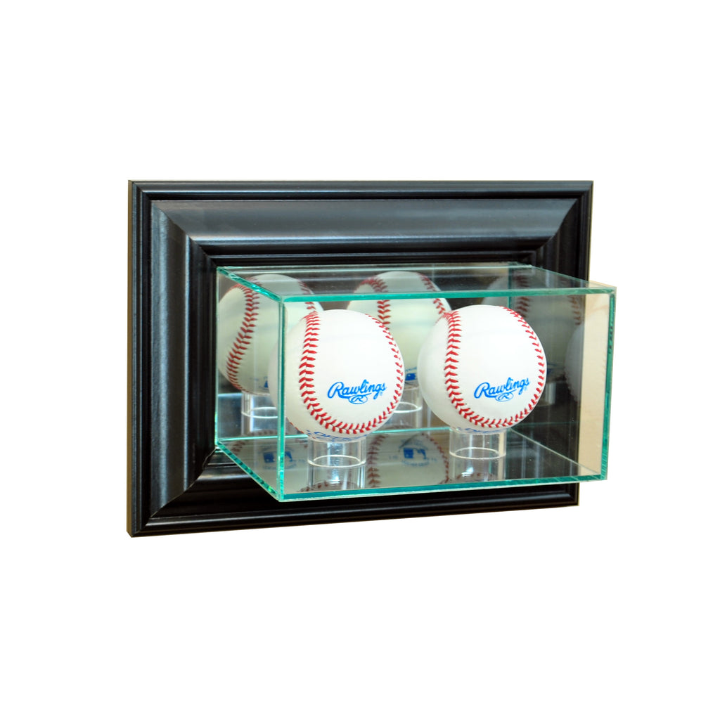 Wall Mounted Double Baseball Display Case with Black Moulding