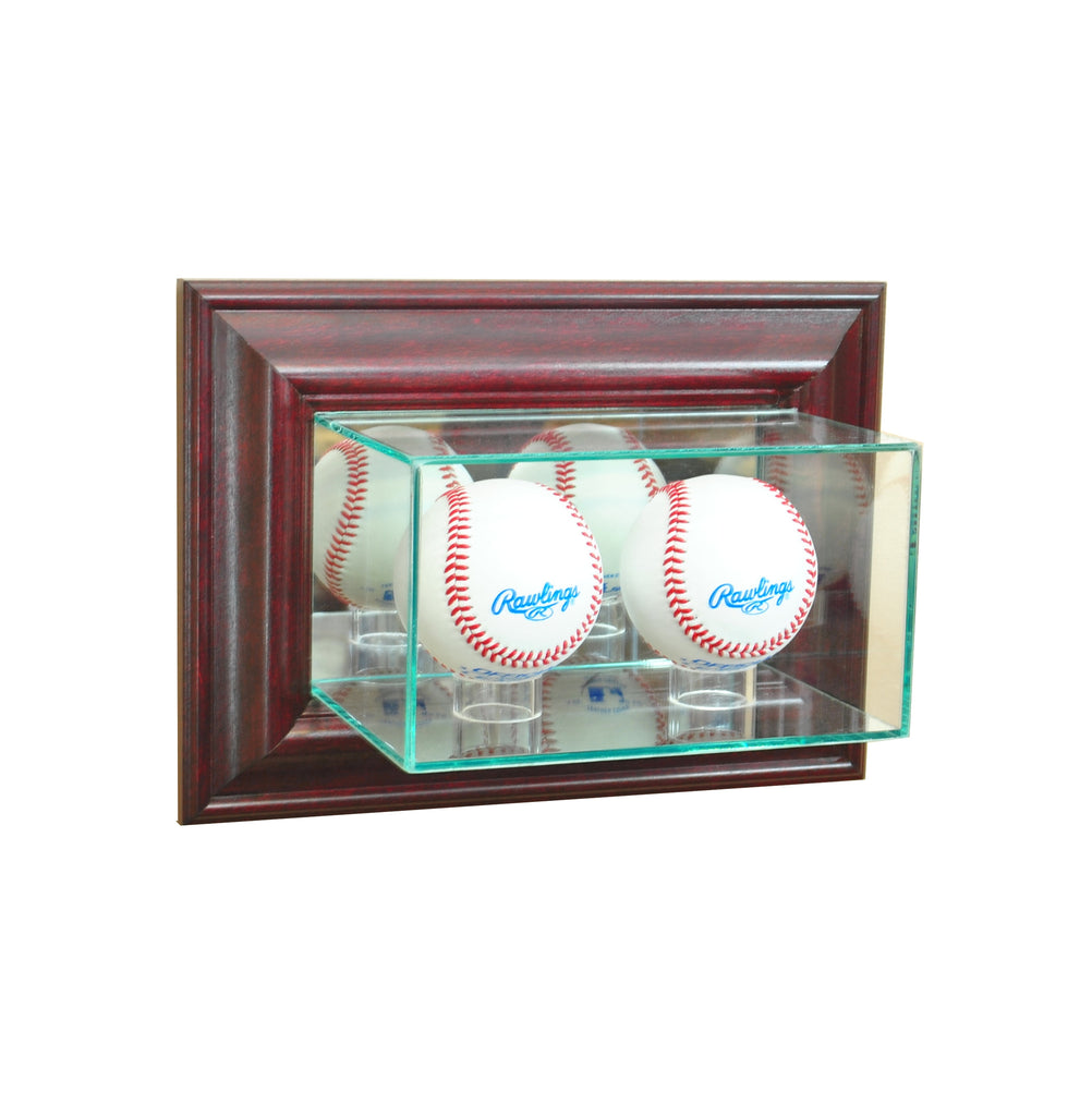 Wall Mounted Double Baseball Display Case with Cherry Moulding