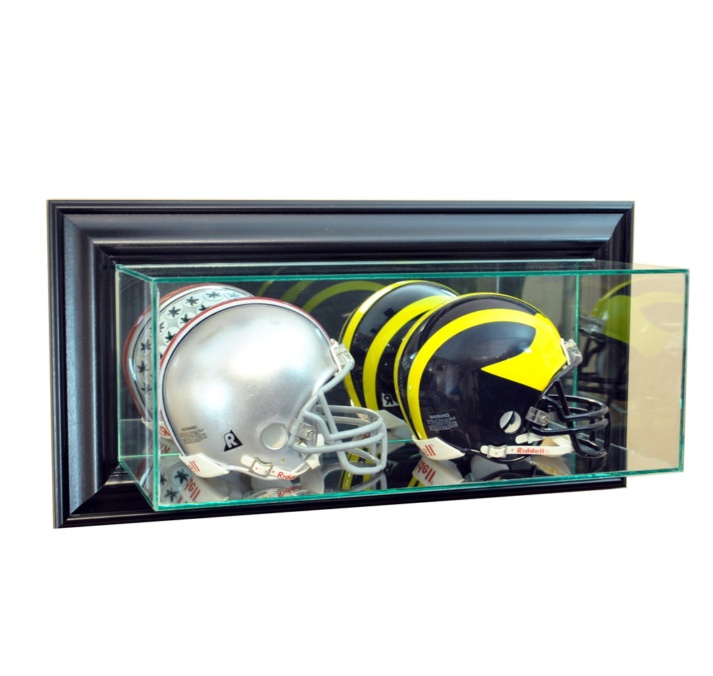 Wall Mounted Double Mini Helmet Display Case with Black Moulding