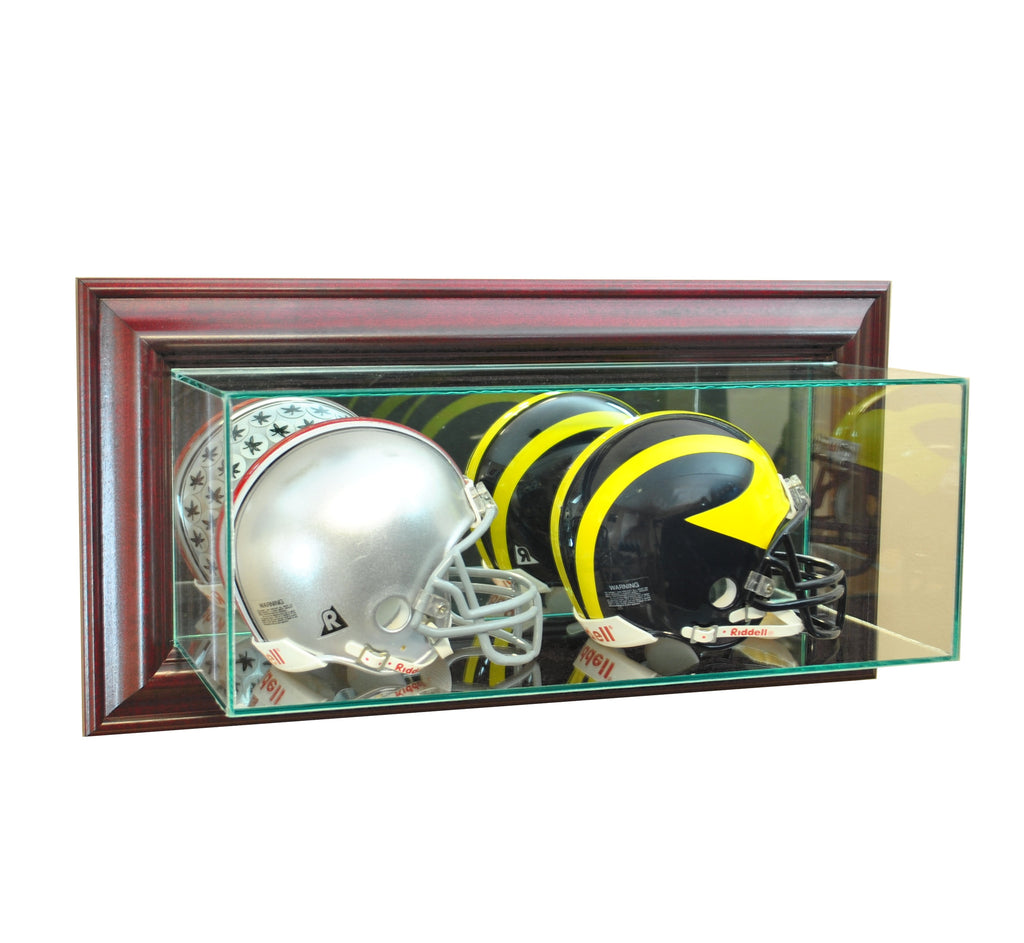 Wall Mounted Double Mini Helmet Display Case with Cherry Moulding