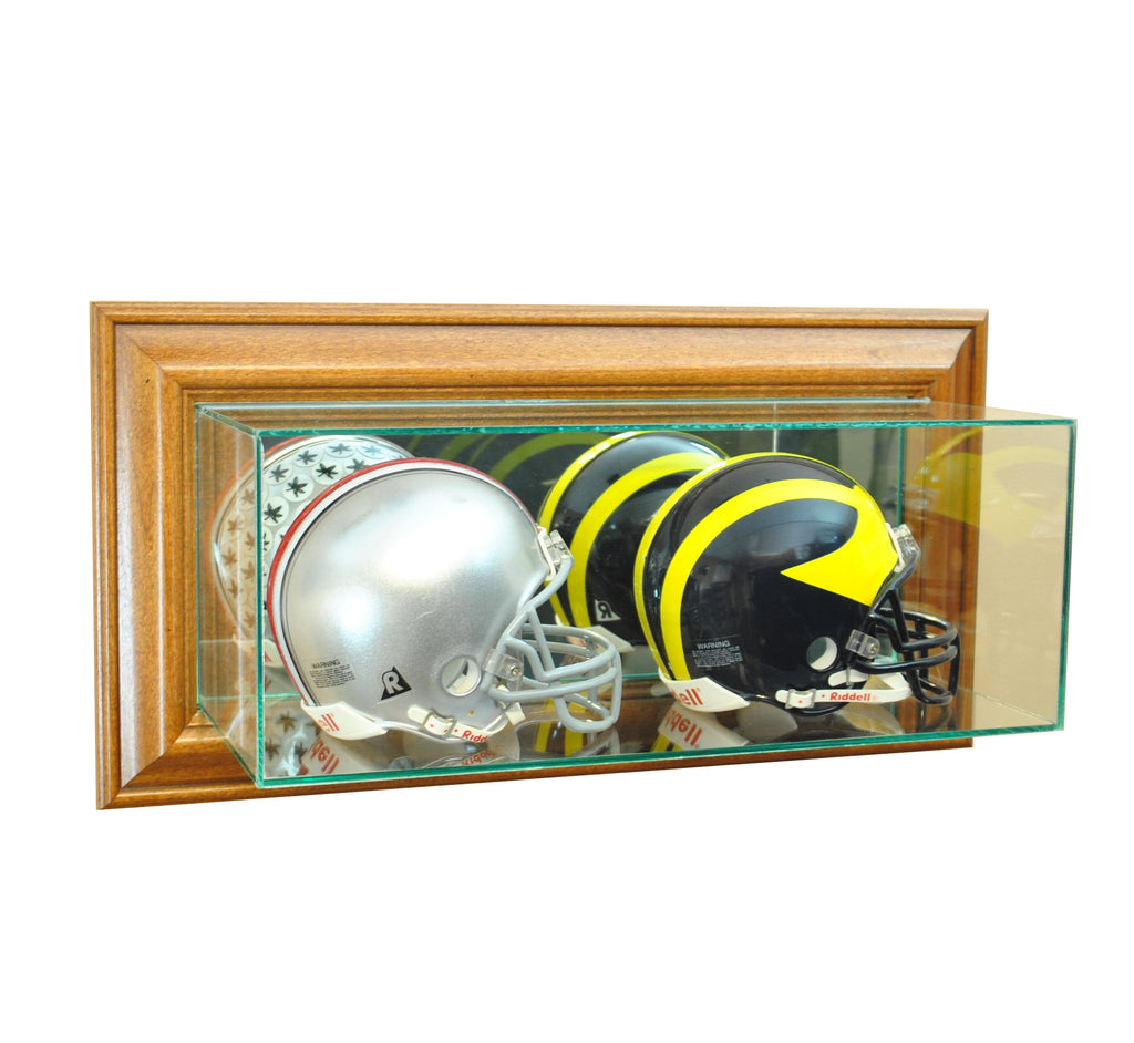 Wall Mounted Double Mini Helmet Display Case with Walnut Moulding