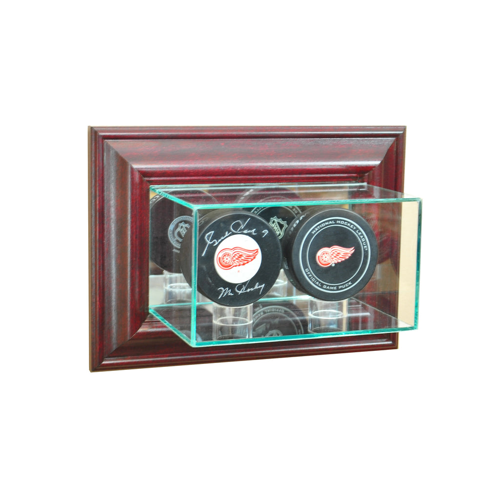 Wall Mounted Double Puck Display Case with Cherry Moulding