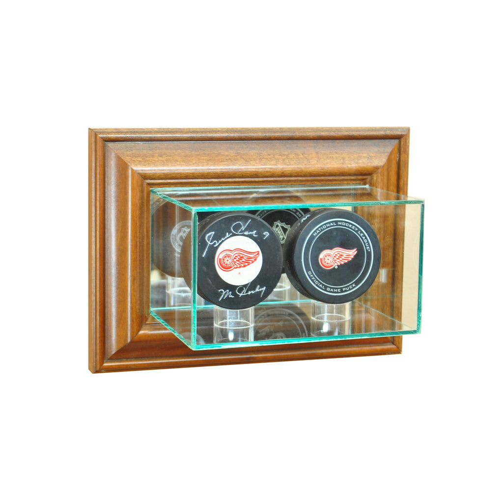 Wall Mounted Double Puck Display Case with Walnut Moulding