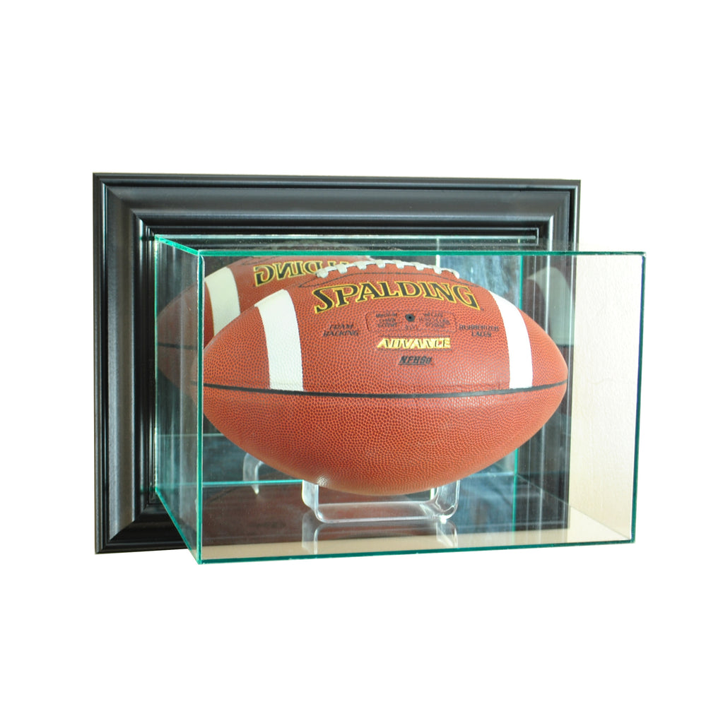 Wall Mounted Football Display case with Black Moulding