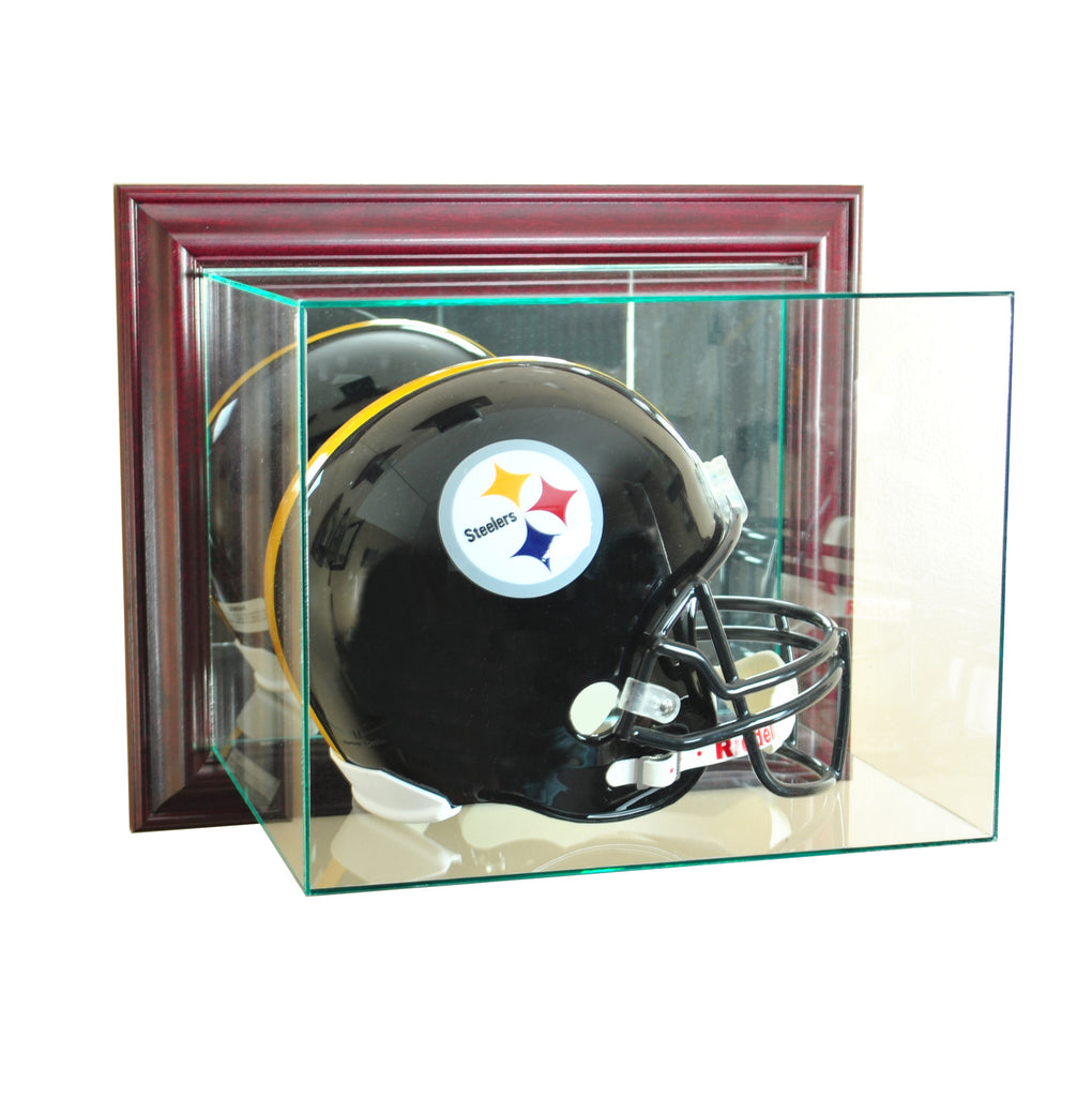 Wall Mounted Football Helmet Display Case with Cherry Moulding