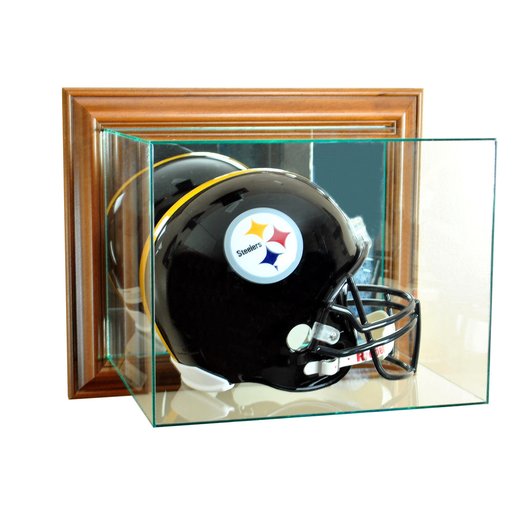Wall Mounted Football Helmet Display Case with Walnut Moulding