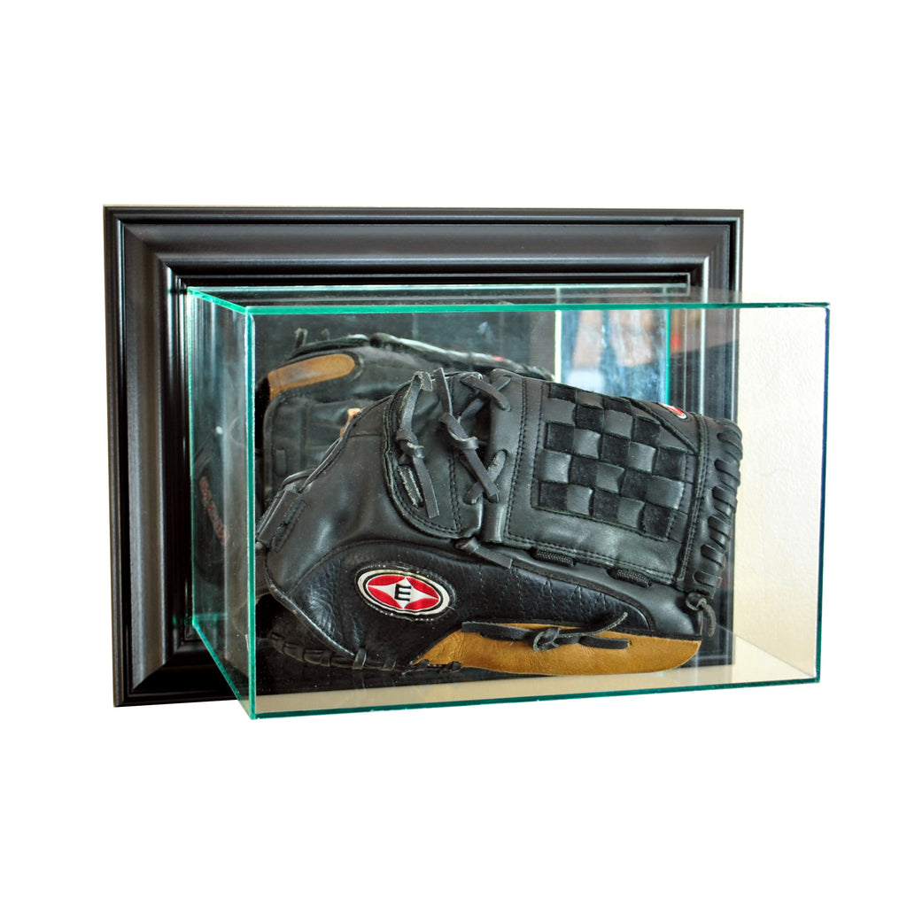 Wall Mounted Glove Display Case with Black Moulding