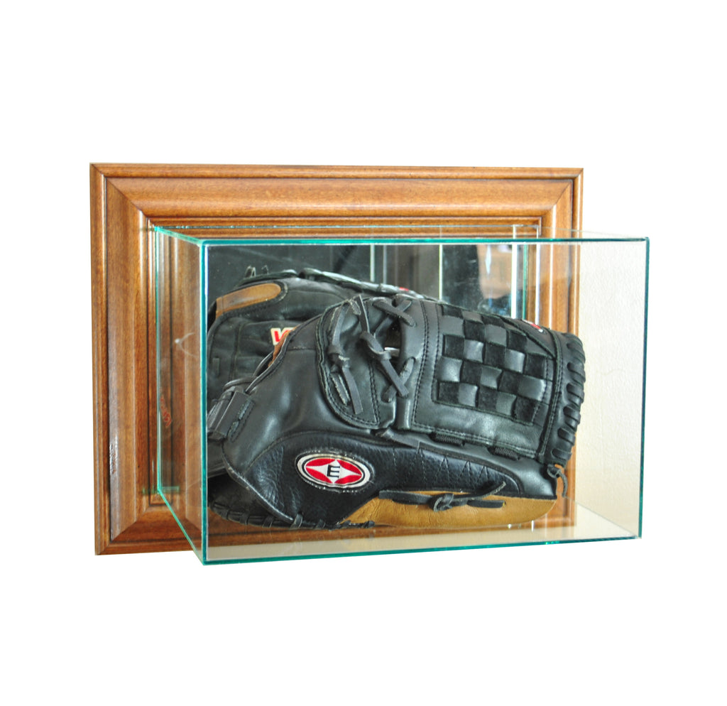 Wall Mounted Glove Display Case with Walnut Moulding