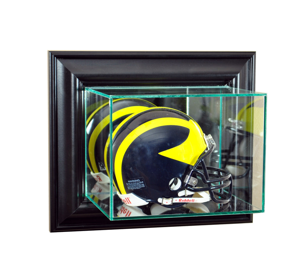 Wall Mounted Mini Helmet Display Case with Black Moulding