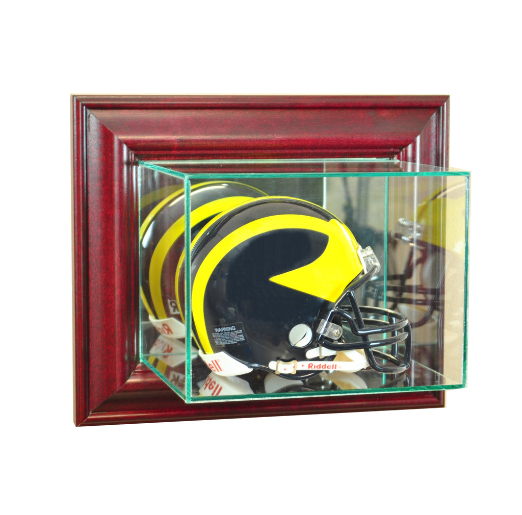 Wall Mounted Mini Helmet Display Case with Cherry Moulding