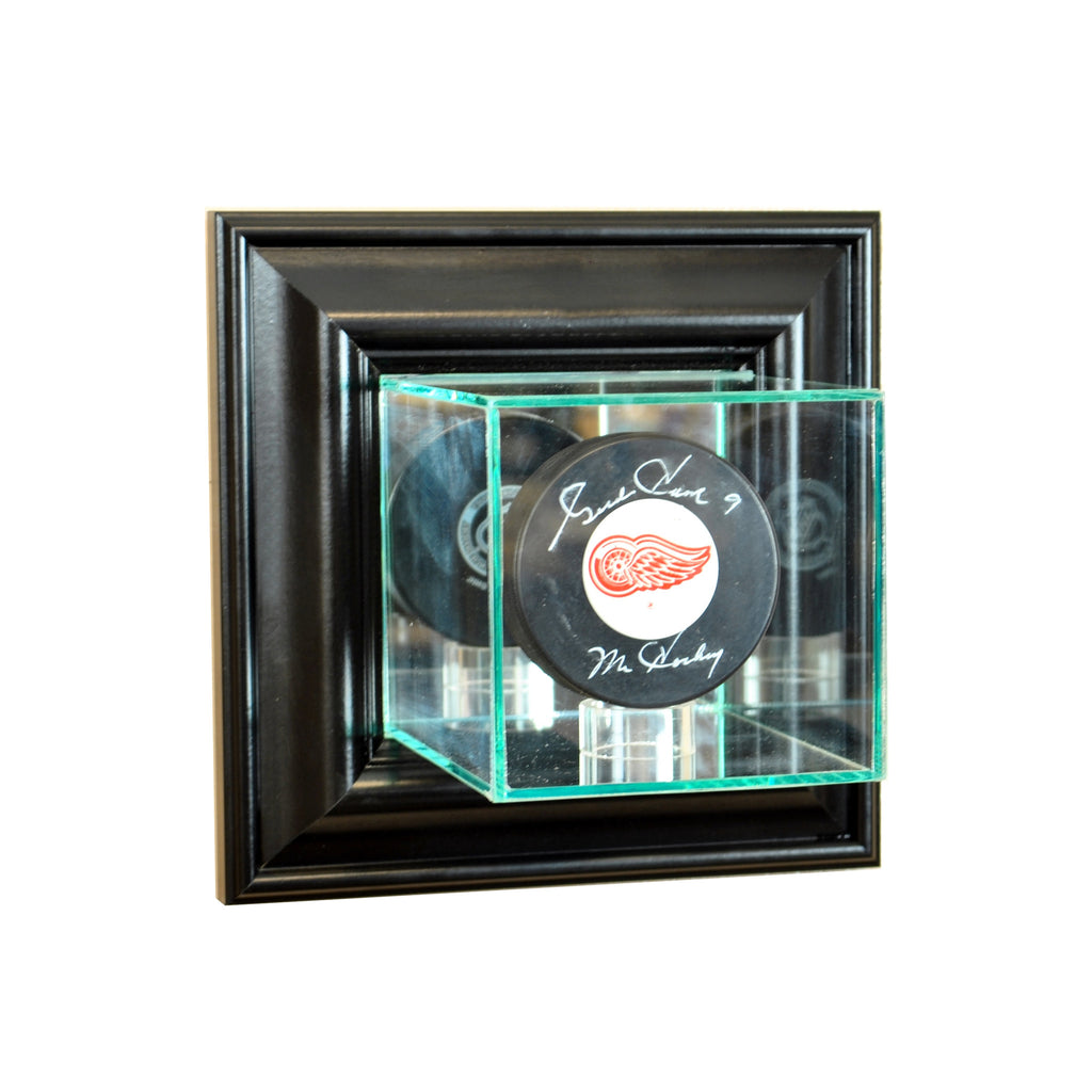 Wall Mounted Single Puck Display Case with Black Moulding