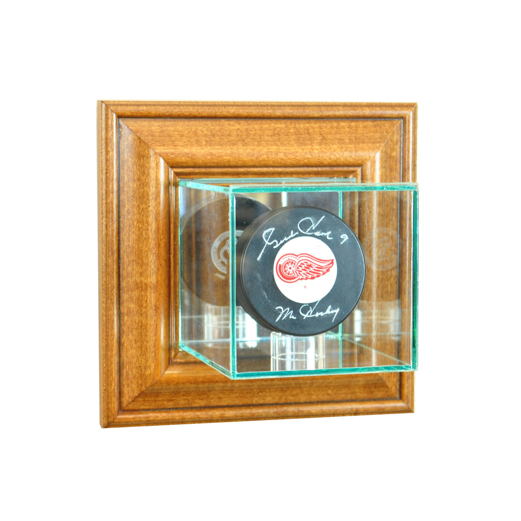 Wall Mounted Single Puck Display Case with Walnut Moulding