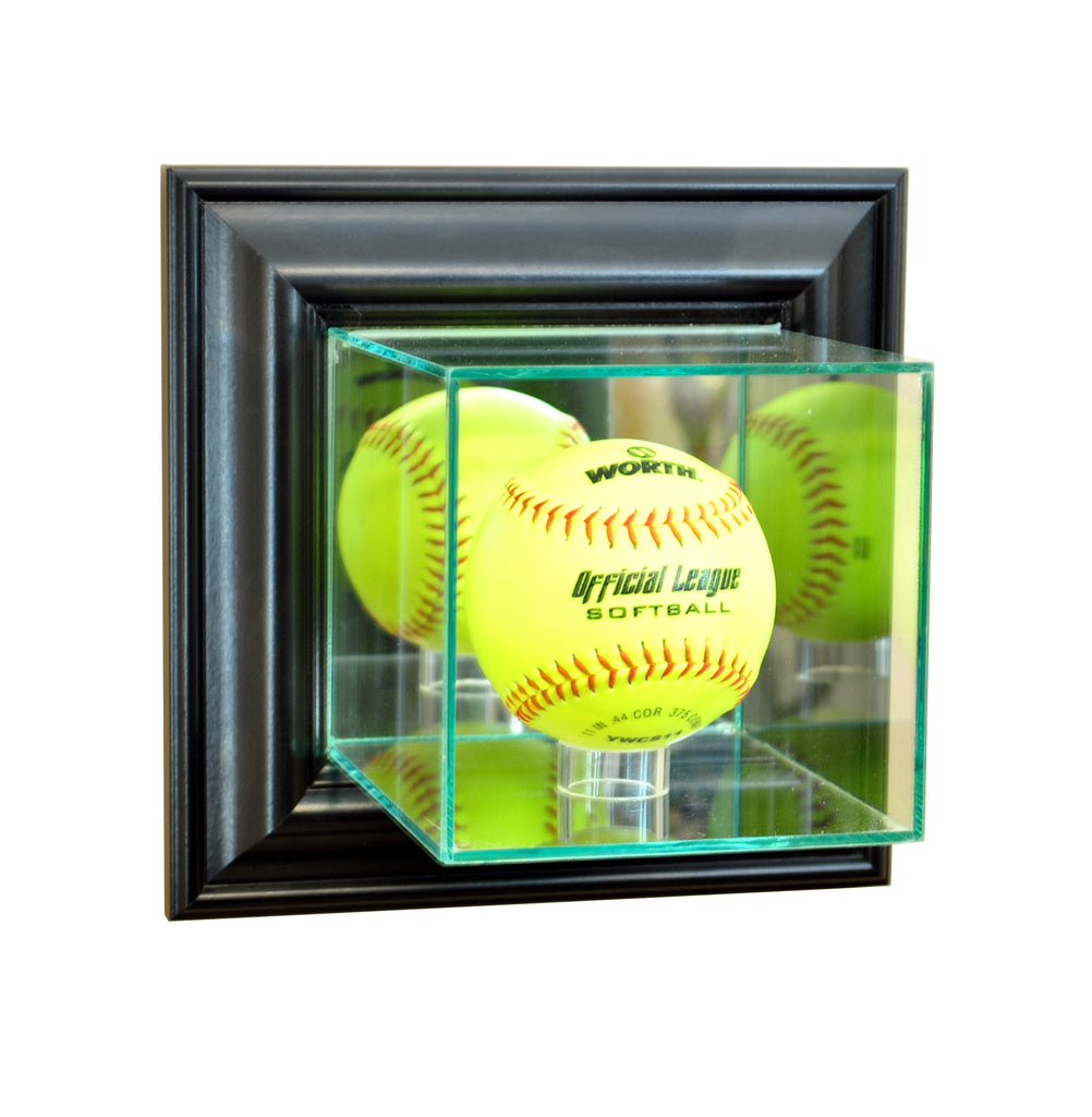 Wall Mounted Softball Display Case with Black Moulding