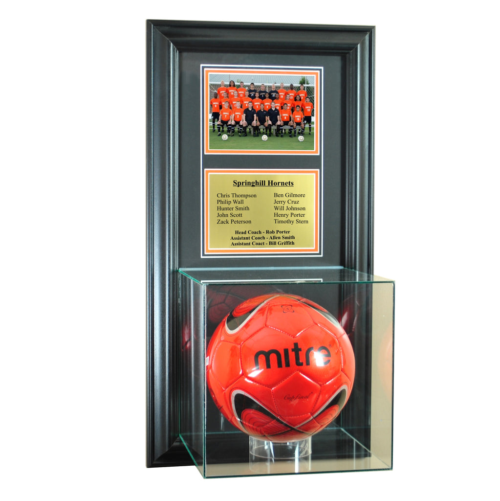 Wall Mounted Soccer Case with 5x7 and Engraving Plate for Team Award