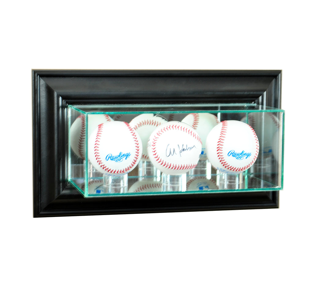Wall Mounted Triple Baseball Display Case with Black Moulding