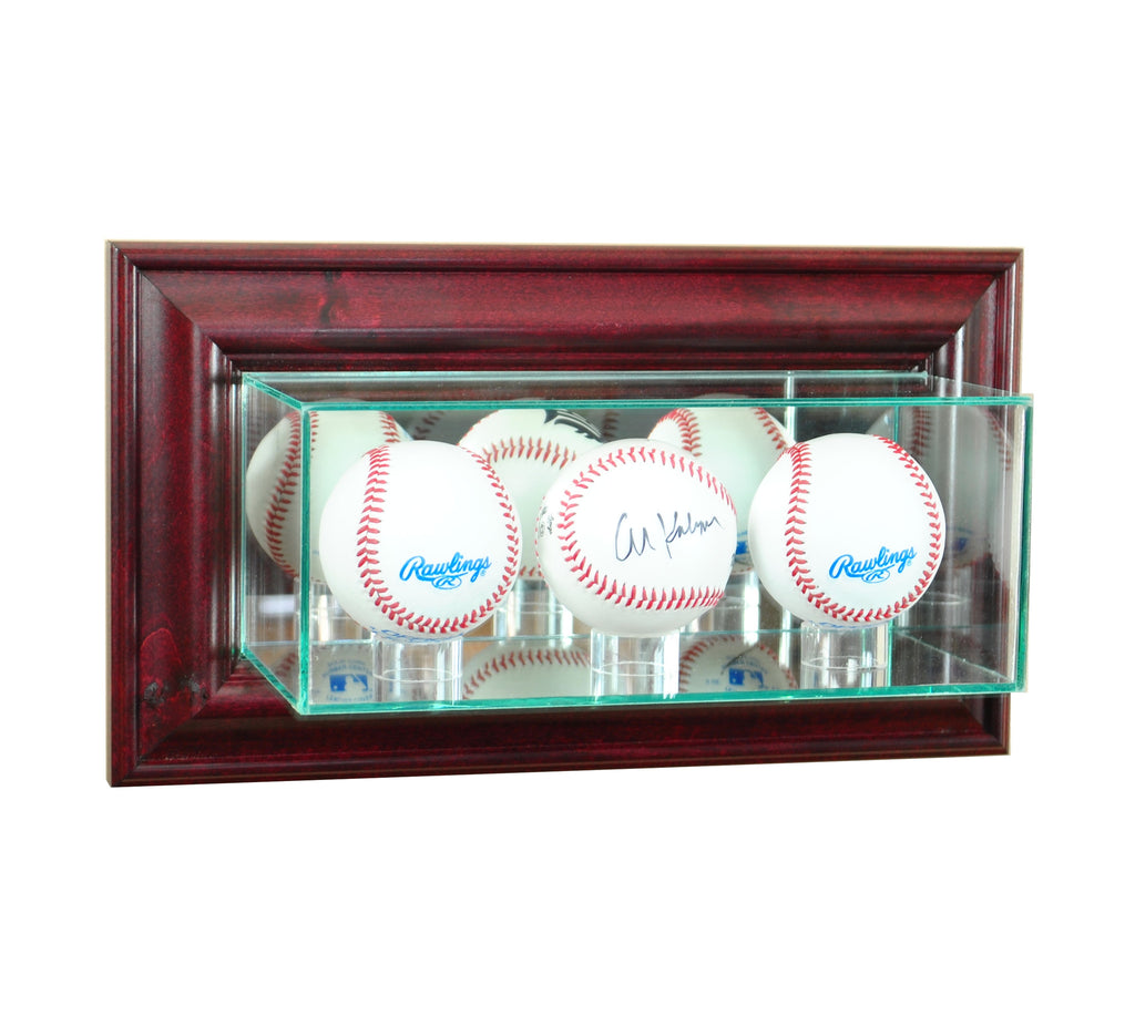 Wall Mounted Triple Baseball Display Case with Cherry Moulding
