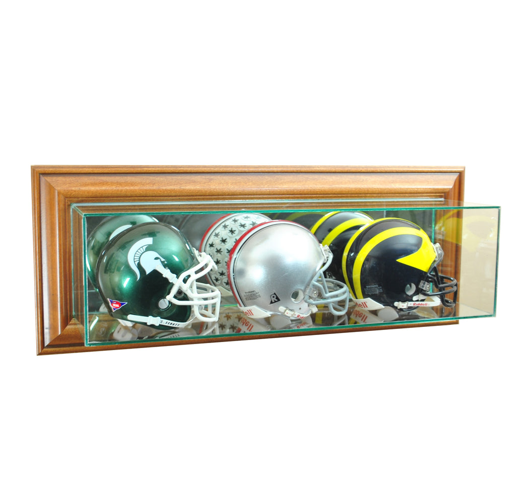 Wall Mounted Triple Mini Football Display Case with Walnut Moulding