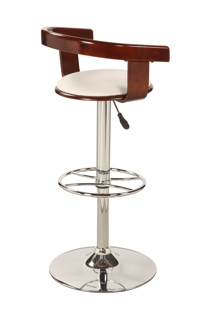 Chintaly - 1331 Series Bentwood Pneumatic Swivel Stool Chrome/ Cherry