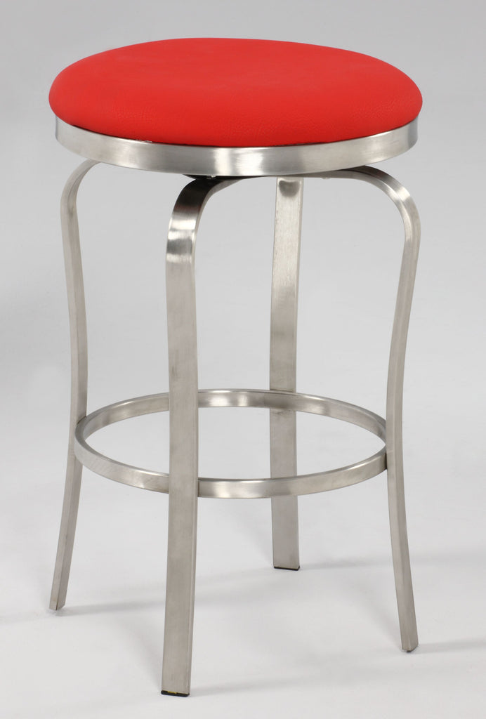 Chintaly - 1193 Series Modern Backless Counter Stool Brushed Stainless Steel