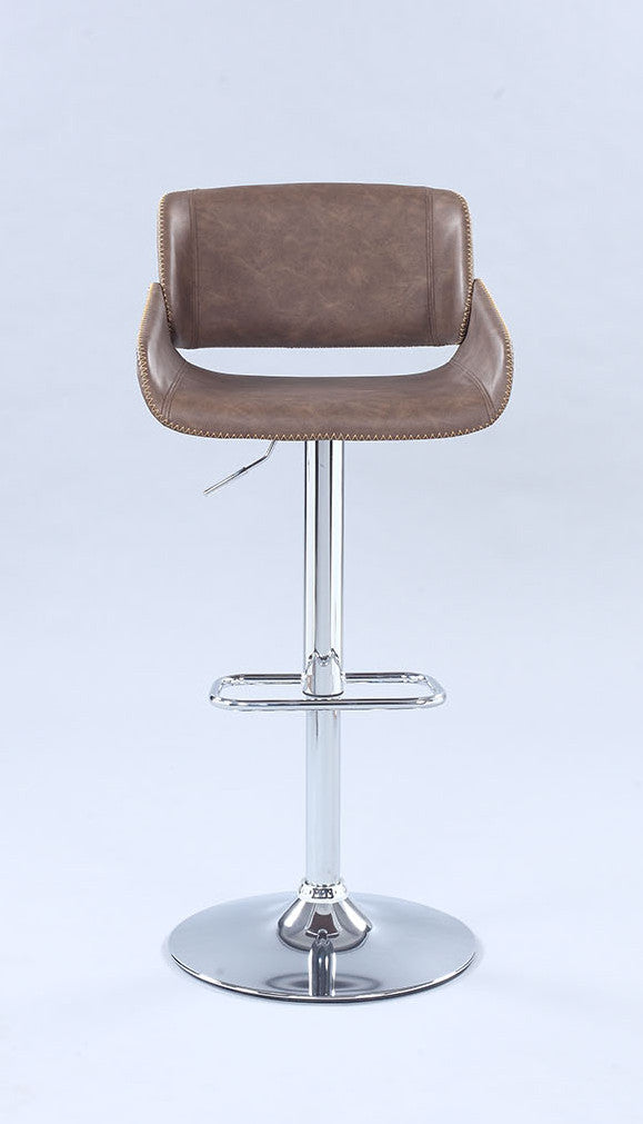 Chintaly - 1315 Series Pneumatic Bentwood Saddle Seat Adjustable Stool W/ Stitching Chrome