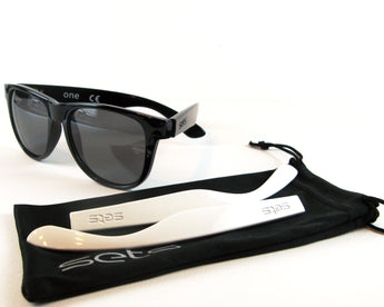 Setsclub interchangeable sunglasses, polarized, black, white