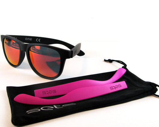 Setsclub interchangeable sunglasses, polarized, black, grey, pink