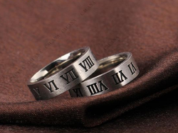 Stainless Steel Roman Alphabet Ring