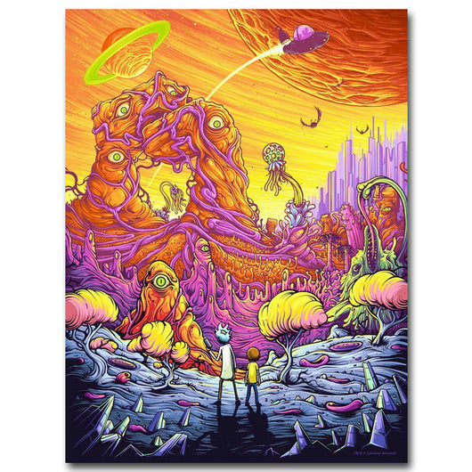 Rick and Morty Silk Fabric Poster