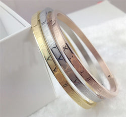 3 Piece Gold Carved Roman Numeral Bangles