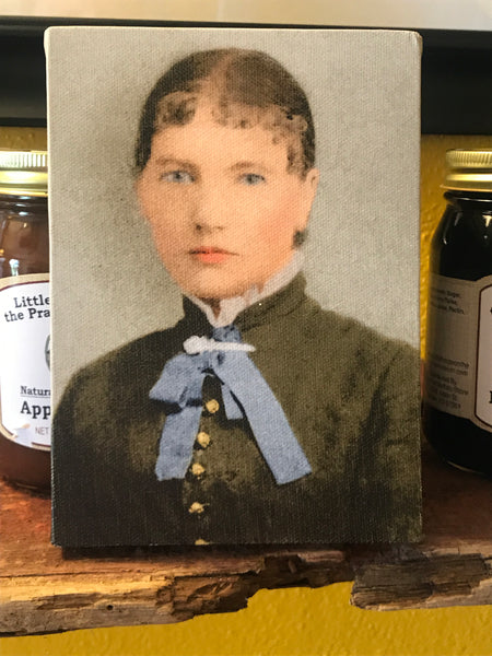 Canvas colored framed photo of a younger Laura Ingalls Wilder