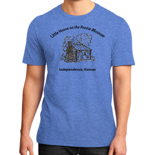 District T-Shirt (on man) Heather blue Little House on the Prairie Museum