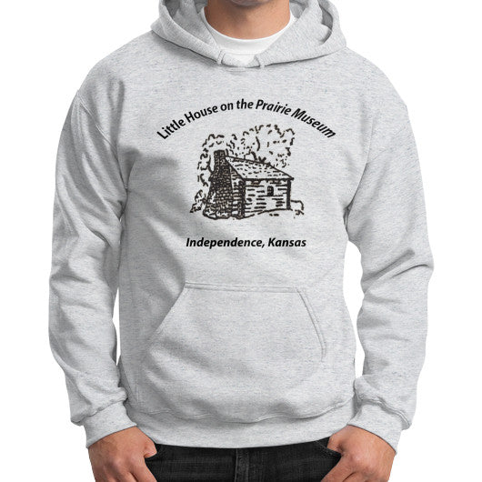 Gildan Hoodie (on man) Ash grey Little House on the Prairie Museum