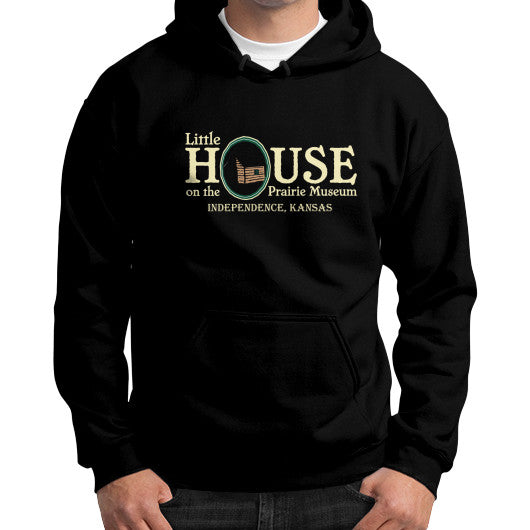 Gildan Hoodie (on man) Black Little House on the Prairie Museum