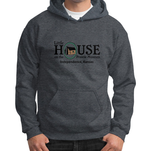 Gildan Hoodie (on man) Dark heather Little House on the Prairie Museum