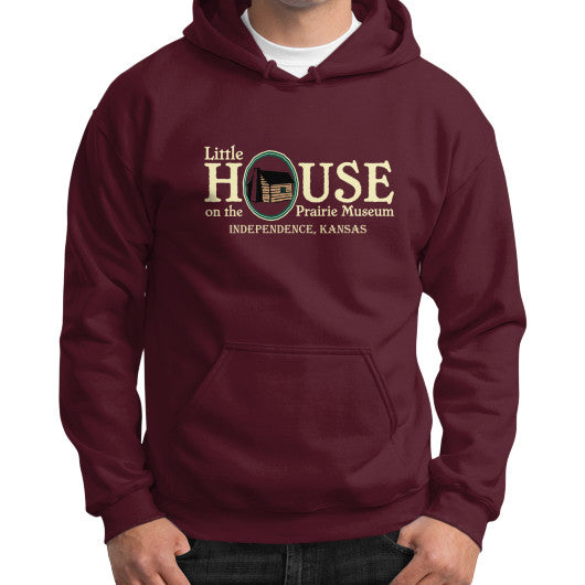 Gildan Hoodie (on man) Maroon Little House on the Prairie Museum