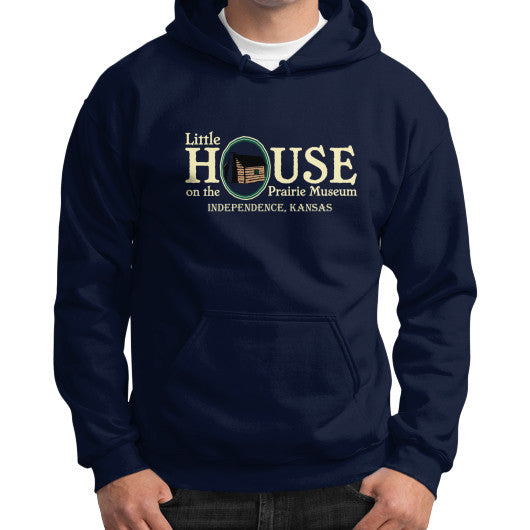 Gildan Hoodie (on man) Navy Little House on the Prairie Museum
