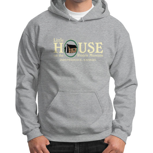 Gildan Hoodie (on man) Sport grey Little House on the Prairie Museum
